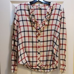 Fun Red, White, and Blue Flannel With Ruffles - M